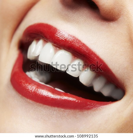 Woman smile. Teeth whitening. Dental care. - stock photo