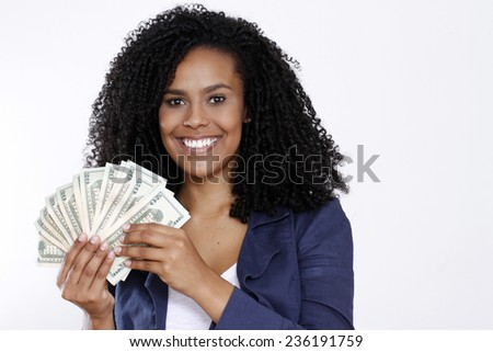 woman smile with money
