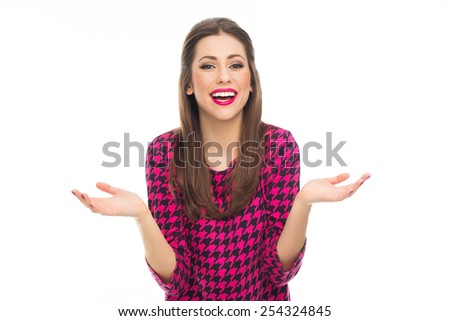 Woman smiling and gesturing - stock photo