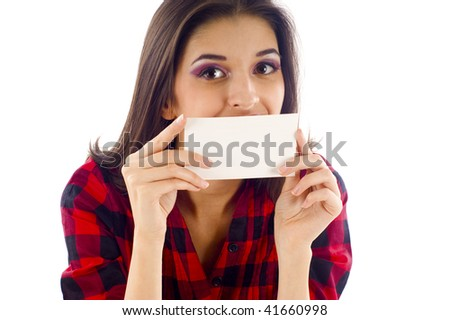 Woman Smiling & Covering Her Mouth with a Blank Card - Isolated over a White Background