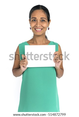 Woman Smiling Happiness Placard Copy Space Portrait Concept