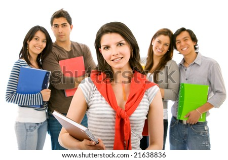 Woman smiling in front of a group of students over a white background