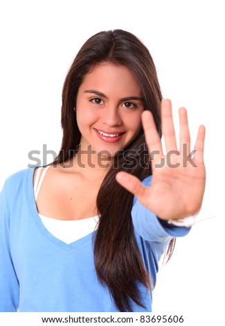 woman smiling saying stop with hand isolated over white background - stock photo