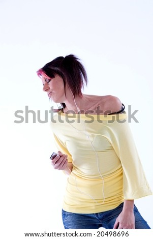 woman smiling while hearing music - stock photo