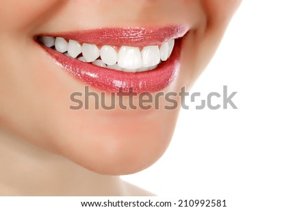 Woman smiling, white background, copyspace