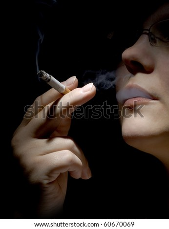 woman smoke cigarette - stock photo