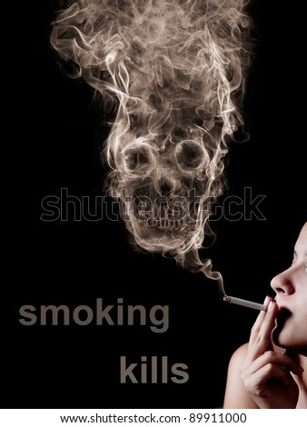 "woman smoking a cigarette. Of smoke formed skull dead, as a symbol of the dangers of smoking to health and imminent death of people. The concept  ""smoking kills"". Isolated on a black background - stock photo"