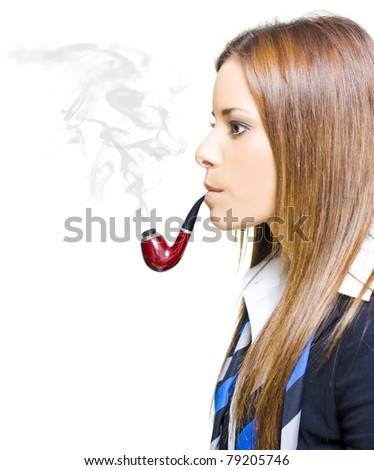 Woman Smoking Pipe Representing Environmental Impact And Pollution Caused By Business Through Infrastructure Consumerism Excess Consumption And Mismanagement - stock photo