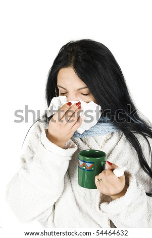Woman sneezing nose having cold on white background