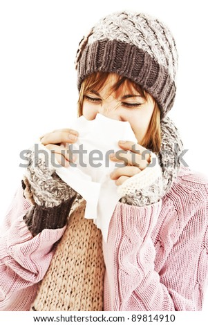 Woman Sneezing. Winter style - isolated on white background - stock photo