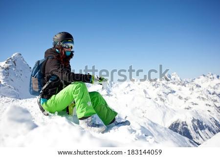 woman snowboarder, Alps Mountains, - stock photo