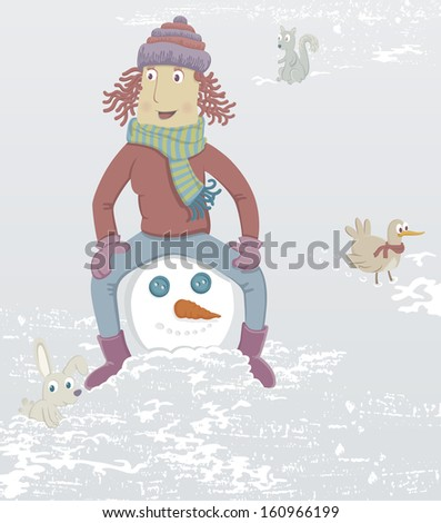 Woman & snowman. A girl is sitting on the head of a snowman. Nearby is a rabbit, a squirrel and a bird. - stock photo