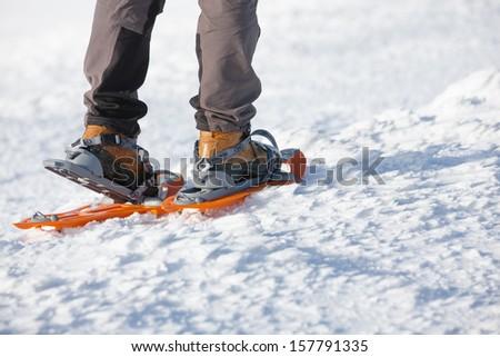 Woman snowshoeing in winter Carpathian mountains  - stock photo