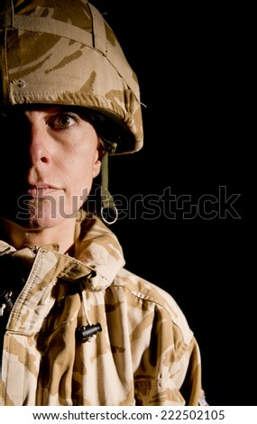 Woman Soldier - stock photo