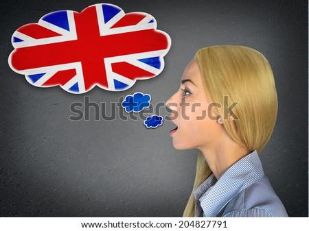 Woman speaking english in bubble - stock photo