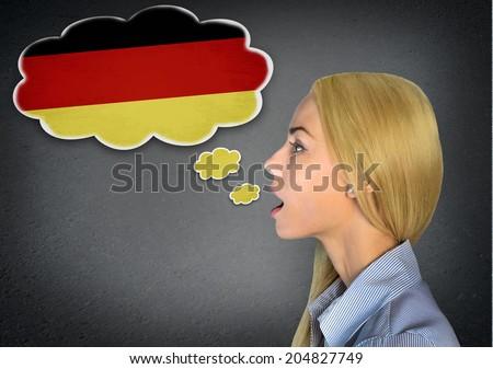 Woman speaking german in bubble - stock photo