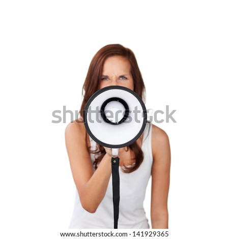 Woman speaking into a megaphone making a public announcement isolated on white - stock photo