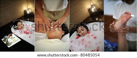 Woman spending a day at SPA - stock photo