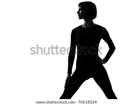 woman sportswear standing pose posture position in silouhette on studio white background - stock photo