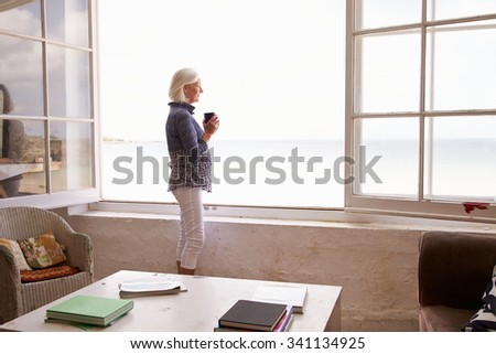 Woman Standing At Window And Looking At Beautiful Beach View - stock photo