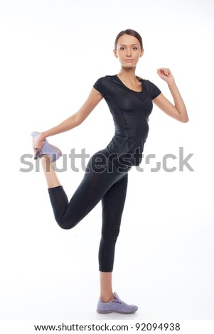 woman standing in pose overwhite background - stock photo