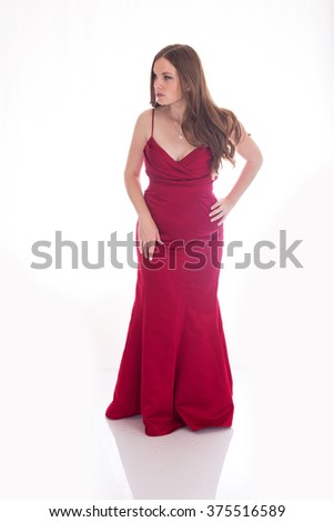 Woman Standing in Red Dress
