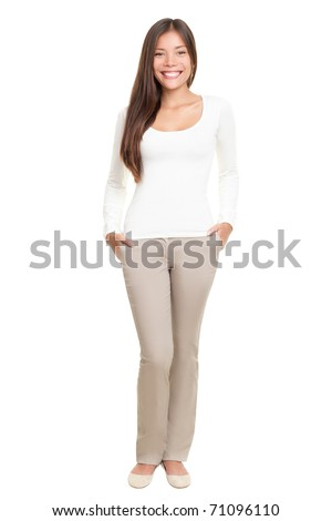Woman standing isolated on white background. Casual multiracial Asian Caucasian natural beauty in full body.