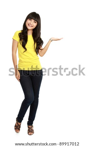 woman standing presenting. isolated on white background - stock photo