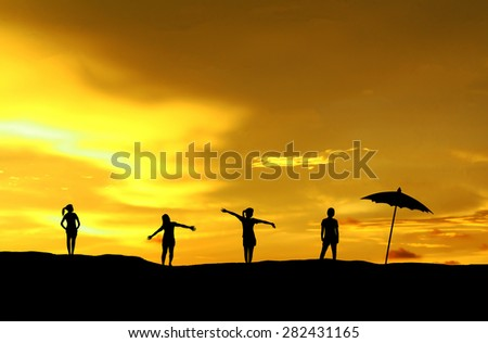 Woman standing relaxed style silhouette. - stock photo
