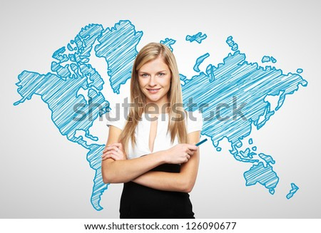 woman standing with drawing world map