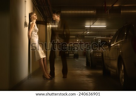 Woman Standing with Transparent Man - stock photo