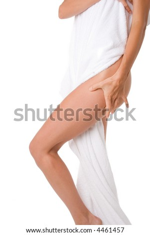 woman standing with white towel