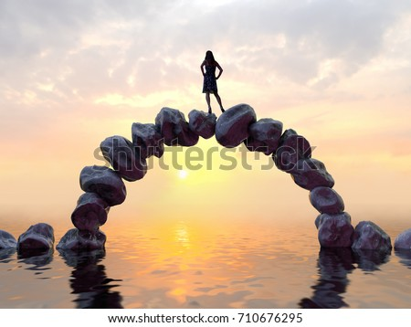 woman stands on top of a stone bridge, 3d illustration