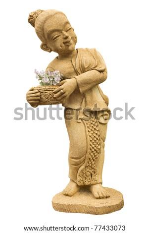 woman statue on white background - stock photo