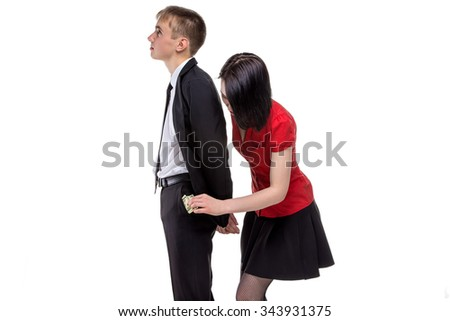 Woman stealing money from a man. Isolated photo of people with white background. - stock photo
