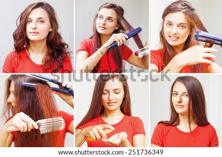 woman straightening her hair - tutorial by beauty blogger - stock photo