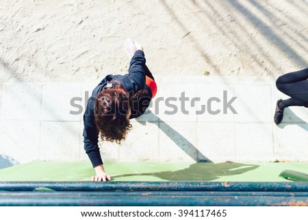 Woman Stretching on a Park in Madrid