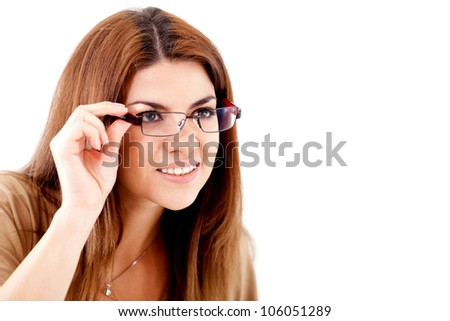 Woman struggling to see and wearing glasses - isolated over white - stock photo