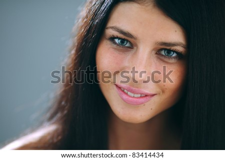 woman studio close up portrait - stock photo