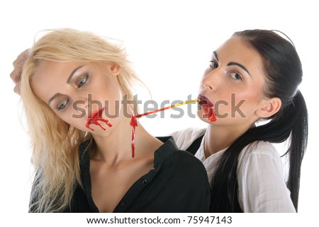 Woman sucks blood from neck of other woman isolated in white - stock photo