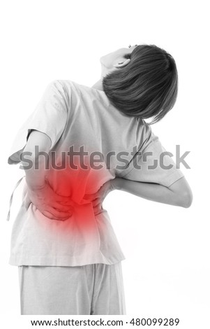 woman suffering from back pain, backbone or spinal muscle injury