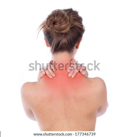 Woman suffering from upper back, isolated on white - stock photo