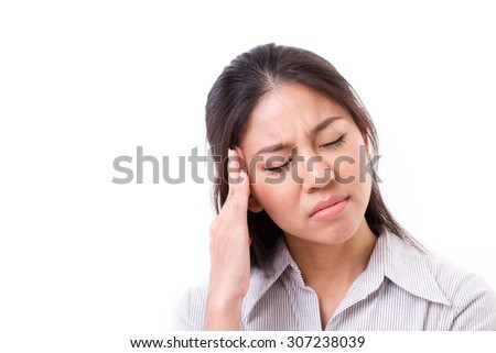 woman suffers from headache, migraine - stock photo