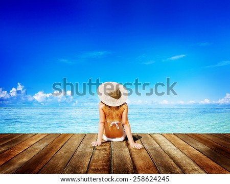 Woman Sunbathe Sunny Summer Beach Relaxing Concept - stock photo