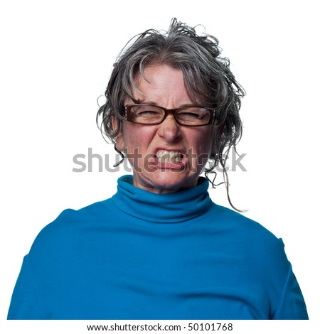 Woman super mad and aggressive, ready to hit someone - stock photo