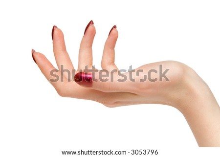 Woman support hand. Isolated on white.