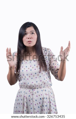 Woman surprised by something. Isolated on background. - stock photo