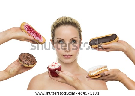 woman surrounded by hands holding cakes