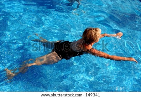 woman swiming - stock photo