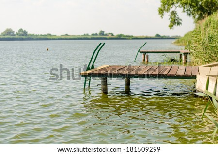Woman swimming relaxing and enjoying in the warm and calm river